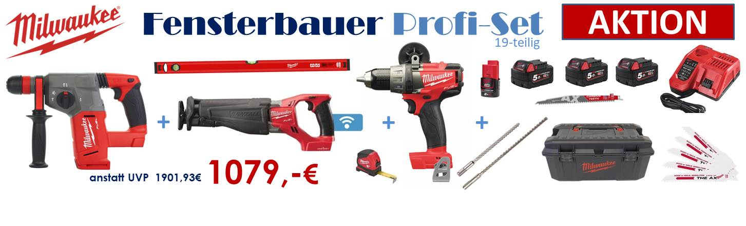 Milwaukee Fensterbauer Profi Set