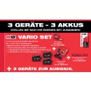 Milwaukee M18 Vario Set 3x Geräte zur freien Auswahl 18 V inkl. Wasserwaage + Akkus + Ladegerät + Box+ Maßband
