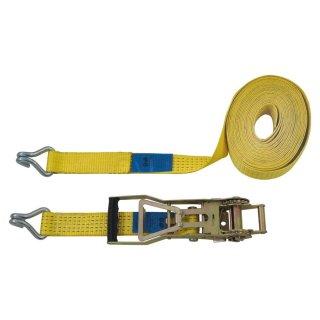 Ratschenspanngurt 2-teilig, 10 m, 50 mm, Doppelspitzhaken, Ratsche 35 cm, gelb
