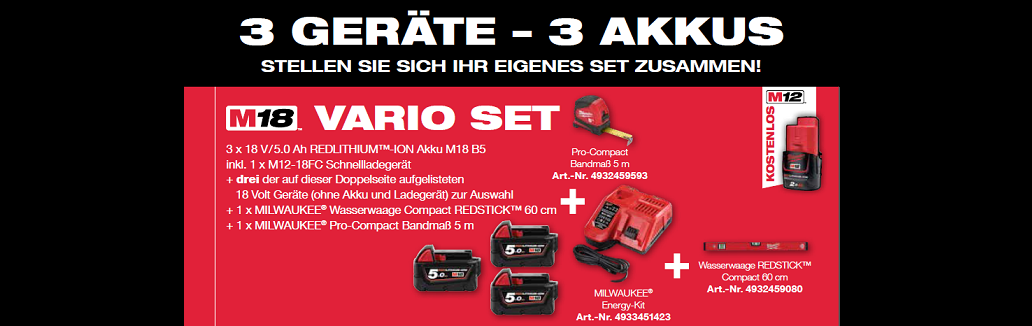 Milwaukee M18 Vario Set
